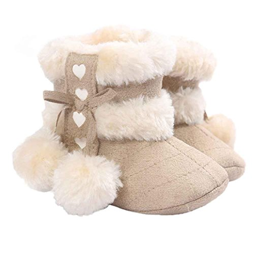 Voberry® Baby Toddler Girls Knit Soft Winter Warm Snow Boot Fur Trimmed Pom Pom Boots (0~6M, Beige)