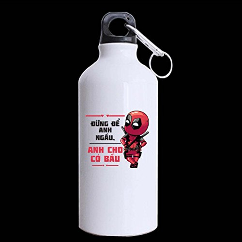 Unique Hallowmas Gifts Deadpool Customized 100% Super-Strong Recycled Aluminum 13.5 OZ Sports Water Bottle Mug (Twin Sides) (Amazon Vouchers Uk compare prices)