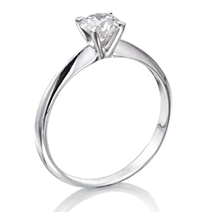 Diamond Engagement Ring in 14K Gold / White GIA Certified, Round, 0.45 Carat, J Color, VVS2 Clarity