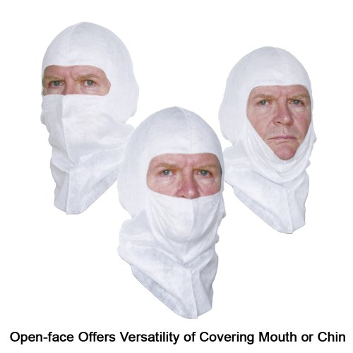 Soft-stretch Head Cover replacing Spray Sock Balaclava, White, Open-face Design, 6 Pack