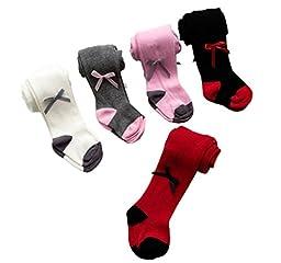 Taiycyxgan Newborn Baby Girls Cotton Tights 5-Pack Bowknot Infants Leggings Stockings 0-6 months