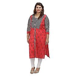 Damyantii Women's Plus Size Straight Red Cotton 3XL Kurta