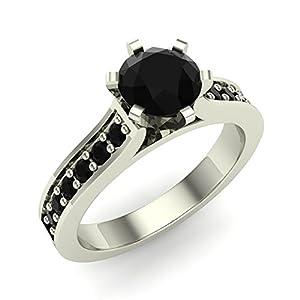 3/4 ct tw Black Diamond Engagement Ring 14K White Gold on Sterling