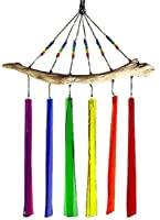 American Made Fused Glass Windchime - Rainbow Colors, 6-Chime Version