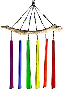 Fused Glass Windchime - Rainbow Colors, 6-Chime Version
