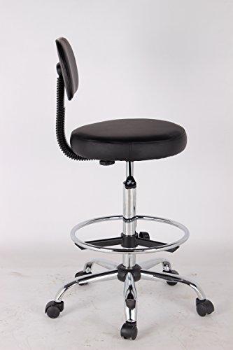 EZ Office Lounge Drafting Stool With Foot Ring Loop Arms Black Arts En