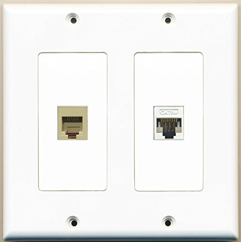 Riteav - 1 Port Phone Rj11 Rj12 Beige 1 Port Cat5E Ethernet White - Dual Gang Wall Plate