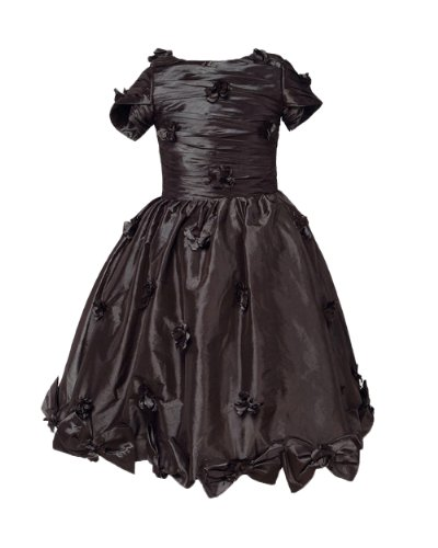 Honeystore Girl'S Satin Bow Flower Trimmed Tea Length Flower Girl Dress Size Us5 Color Chocolate