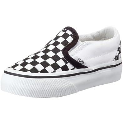 VANS K CLASSIC SLIP-ON VEYB6H6, Baskets mode mixte enfant - damier noir et blanc/blanc, 27.5 EU