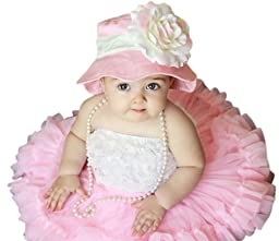Melondipity Girls Bubble Gum Kisses Baby Sun Hat - Pink with Over-sized White and Pink Flower (12 Months - 2T)
