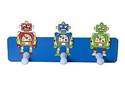 Children\'s Blue Robot Coat Hooks Wall Hooks for Kids Baby Bedroom Nursery Boys