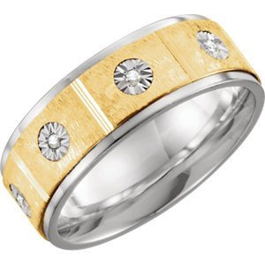 Sterling Silver & 10kt Yellow 8mm 1/10 CTW Diamond Band Size 9.5