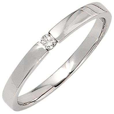 Solitaire Diamond Brilliant 585 White Gold Ring Women's Ring Simple Gold with