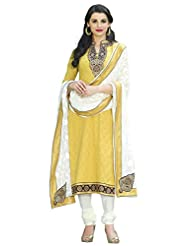 Surat Tex Yellow Color Embroidered Pure Cotton Semi-Stitched Salwar Suit-D435DL3257KE