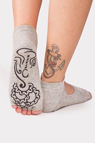 Ptakh Toeless Pilates Barre Grip Non Slip Socks, 2 black and 2 grey (4 pairs)