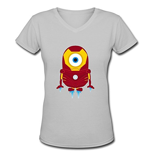 Woman's Cool Pattern Funny Minions Iron Man Slim Fit V Neck T Shirt