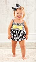 Mud Pie Baby-Girls Infant Striped Swimsuit, Black/White/Yellow, 9 Months