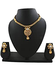Anuradha Art Golden Finish Styled With Wonderful Classy Traditional Necklace Set For Women/Girls