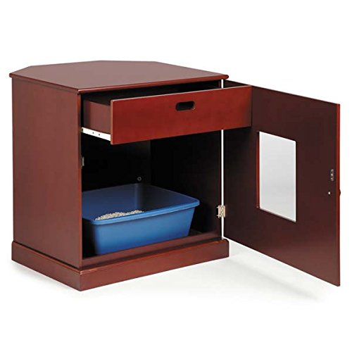 Corner End Table Cat Litter Cabinet With Concealed Drawer