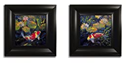 Water Garden by Ostlund 2-pc Satin-Black Framed Print Set (Ready to Hang)