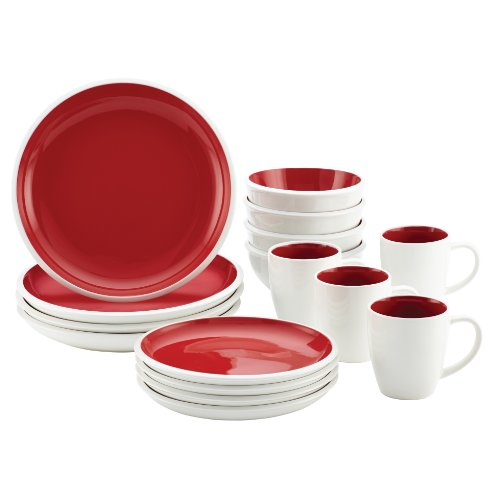 Rachael Ray Dinnerware Rise Collection 16-Piece Set, Red