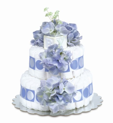 Bloomers Baby Diaper Cake Classic Blue Hydrangea 2-Tier
