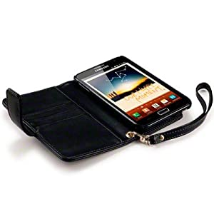 SAMSUNG GALAXY NOTE PREMIUM PU LEATHER WALLET CASE / POUCH / COVER / SKIN - BLACK PART OF THE QUBITS ACCESSORIES RANGE