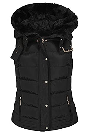 Womens Quilted Bodywarmer Coat Puffer Faux Fur Hooded Winter Vest Jacket Gilet_JKT139_Black_M