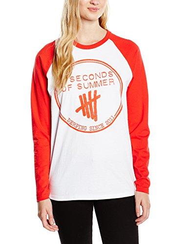 5 Seconds of Summer - Derping Stamp Raglan, T-shirt da donna, bianco (white), X-Large