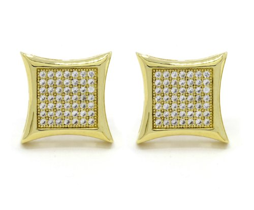 Mens 10Mm Gold Plated Or White Gold Plated Cz Micro Pave Iced Out Hip Hop Kite Stud Earrings Screw Backs (7 Lines) (Gold Plated)