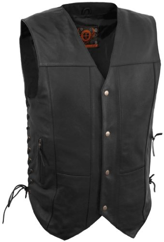 True Element Mens 10 Pocket Traditional Motorcycle Leather Vest (Black, Large)