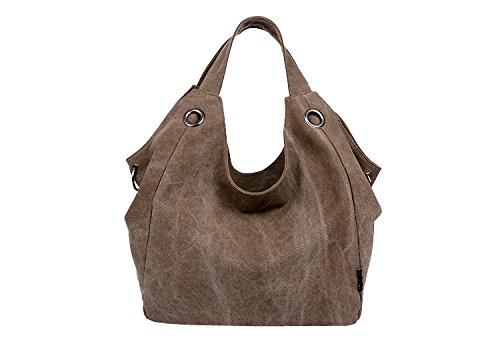 ILISHOP Hot Sale Women's Simple Style Vintage Canvas Totes Hobo Bag Shoulder Bag (Coffee) (Vintage Sale compare prices)