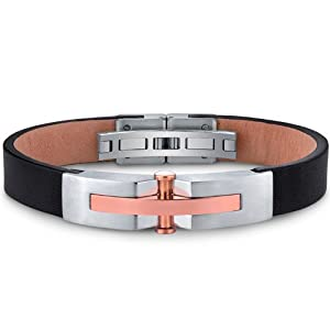 Revoni Mens Stainless Steel And Leather Bracelet With Rose Gold Rivet Accents by Revoni