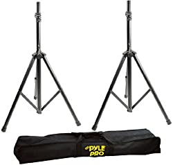 Pyle - Heavy-Duty Aluminum Anodizing Dual Speaker Stand with Traveling Bag Kit
