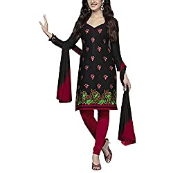 Varsha Women Cotton Dress Material (Varsha4155 _Black _4)