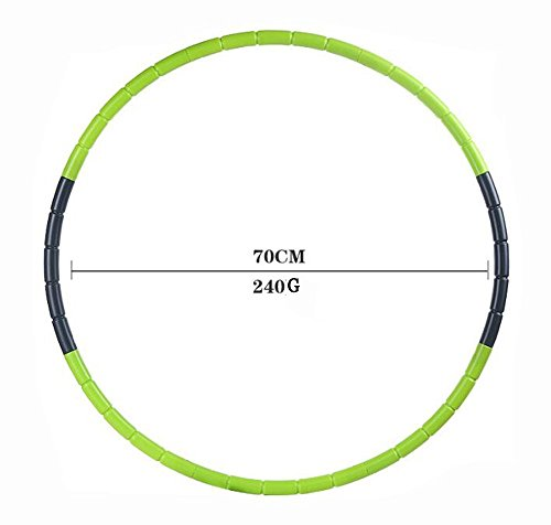 Hula Hoop for Fitness, 8-segmented, Workout for Students and Kids, Exercise, Weight Loss and Perfect Body, 70CM (27.6 inch) (Green)