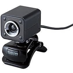 ELECOM ガラスレンズ搭載Webカメラ 130万画素 マイク内蔵 LEDライト搭載 ブラック UCAM-DLK130TBK