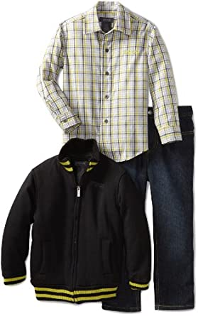 Kenneth Cole Boys 2-7 Jacket with Shirt and Jean, Black, 5