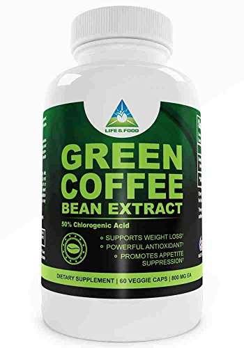 Pure Green Coffee Bean Extract 800 Mg   Most Recognized Clinically Proven Dietary Supplement Using High Quality Natural Pure Vegetable Capsules Standardized To 50% Chlorogenic Acid   No Fillers Or Binders