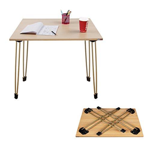 Needデスクポータブル折りたたみデスク 80*60cm コーヒーテーブル、屋外での使用チークカラートップ