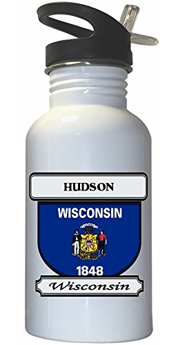 Hudson, Wisconsin (WI) City White Stainless Steel Water Bottle Straw Top