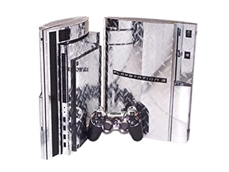 PlayStation 3 Skin (PS3) - NEW - SILVER DIAMOND PLATE MIRROR system skins faceplate decal mod