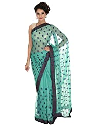Bachhawat Women's Pure Chiffon Saree (Anaya_18010, Sea Green)