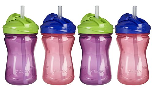 Playtex Anytime Spill Proof 9 Ounce Straw Cups, 4 Pack - Purple/Pink