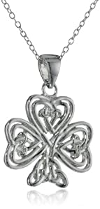 """Sterling Silver Medium Celtic Clover Pendant Necklace with Rolo Chain, 18"""""""