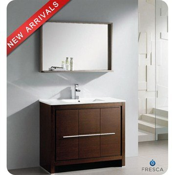 Fresca Allier 40 Inch Wenge Brown Modern Bathroom Vanity with Mirror