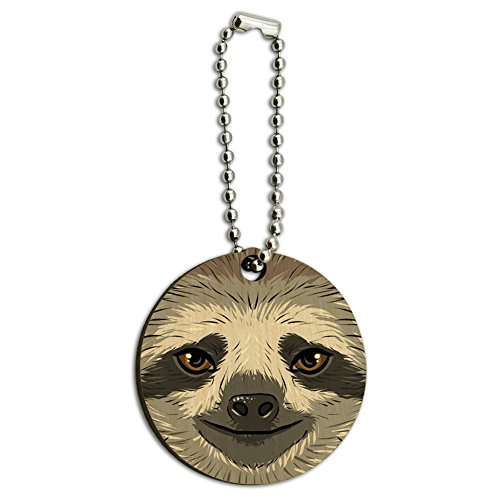 Sloth Face Wood Wooden Round Key Chain