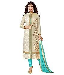 Dharmnandan Fashion Sky Blue Chanderi& Cotton Dress material