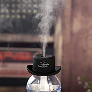 Holisouse Cowboy Cap USB Mini Portable Humidifier Water Bottle Essential Oil Diffuser Aromatherapy Mist Maker For Office Home SPA Travel-Black