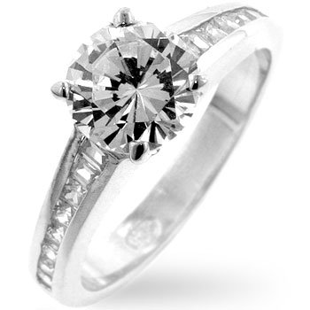 ENGAGEMENT RING - .925 Sterling Silver Classic Clear Ring with Round Cut Clear CZ in Silvertone